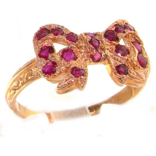 Luxury 9K Rose Gold Womens Colorful Ruby Vintage Style Bow Ring - Size 9.75 - Finger Sizes 5 to 12 Available