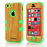 Meaci Iphone 5c Case Hard Soft Combo Hybrid Defender High Impact Body Armorbox Hard Pc&silicone Case (Wood Pattern&green)