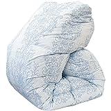 昭和西川 羽毛布団 国産 シングル ブルー ホワイトダウン90% 増量1.3kg ダウンパワー360dp以上 二層(ツイン)キルト 国内パワーアップ加工