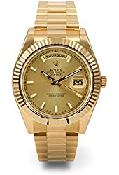 ROLEX DAY-DATE II 2 PRESIDENT YELLOW GOLD WATCH WITH DIAMOND AND RUBY DIAL FLUTED 218238