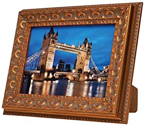 Concorde 6 x 8-inch Glass Ornate Antique Photo Frame, Gold