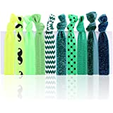 HiLISS HA061006-8 10pcs Hair Ties Ponytail Holders With A Free Gift Green Hairband