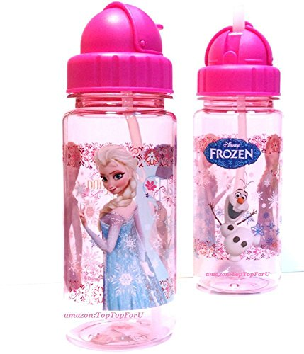 Leakproof Authentic Disney Frozen Tritan Bpa Free Kids Water Bottle With Two Straws Pink front-28231