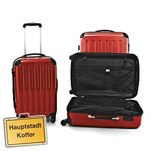 Set of 3 hard-shell suitcase Trolley glossy red suitcase Hauptstadtkoffer incl combination lock 4 wheels by Hauptstadtkoffer