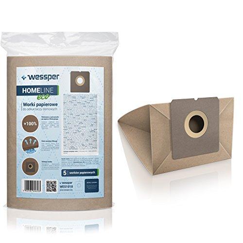 ✧WESSPER® Sacchetti per aspirapolvere Ecron VC 2050 (5 pezzi, carta)