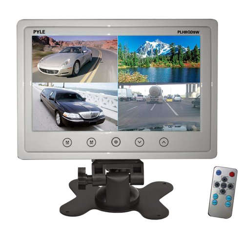 Pyle PLHRQD9W 9-Inch Quad TFT/LCD Video Monitor with Headrest Shroud,BNC and RCA Connectors - White