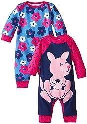 Gerber Baby-Girls Newborn Kangaroo 2 Pack Coverall, Kangaroo, 3-6 Months