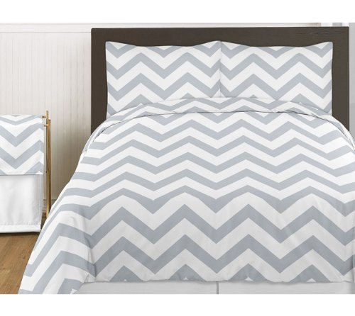 New Gray and White Chevron 3pc Childrens and Teen Zig Zag Full / Queen Bedding Set Collection