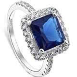 EVER FAITH 925 Sterling Silver Princess Cut Sapphire Color CZ September Birthstone Ring Blue - Size 6