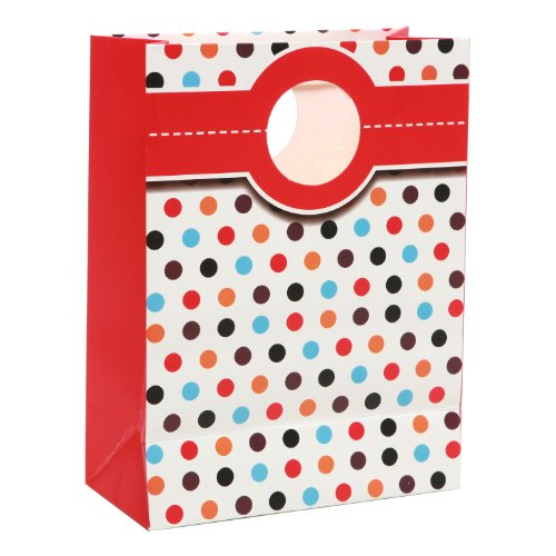 MyGift Retro Party Gift Bags and Tissues (Set of 5) -- Multi Color Polka Dots