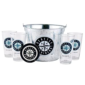 MLB Seattle Mariners Satin Etch Bucket and 4 Glass Gift Set by Boelter Brands
