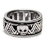 Skull Sterling Silver Mens Spinner Ring