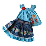 6-12 months - Baby Girls Outfit- Beautiful Blue Floral Top & Denim Skirt Set / Babies Summer Clothes