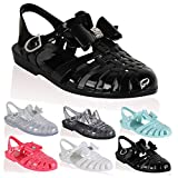 RETRO JELLY SANDALS LADIES WOMENS GIRLS SUMMER BEACH FLAT FLIP FLOPS SHOES SIZE (UK 5, Black Rubber / Silver Diamante Bow)