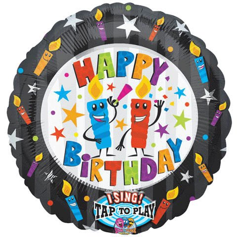 "Anagram International 1421201 Happy Birthday Candles S-A-T Balloon, 28"" - 1"