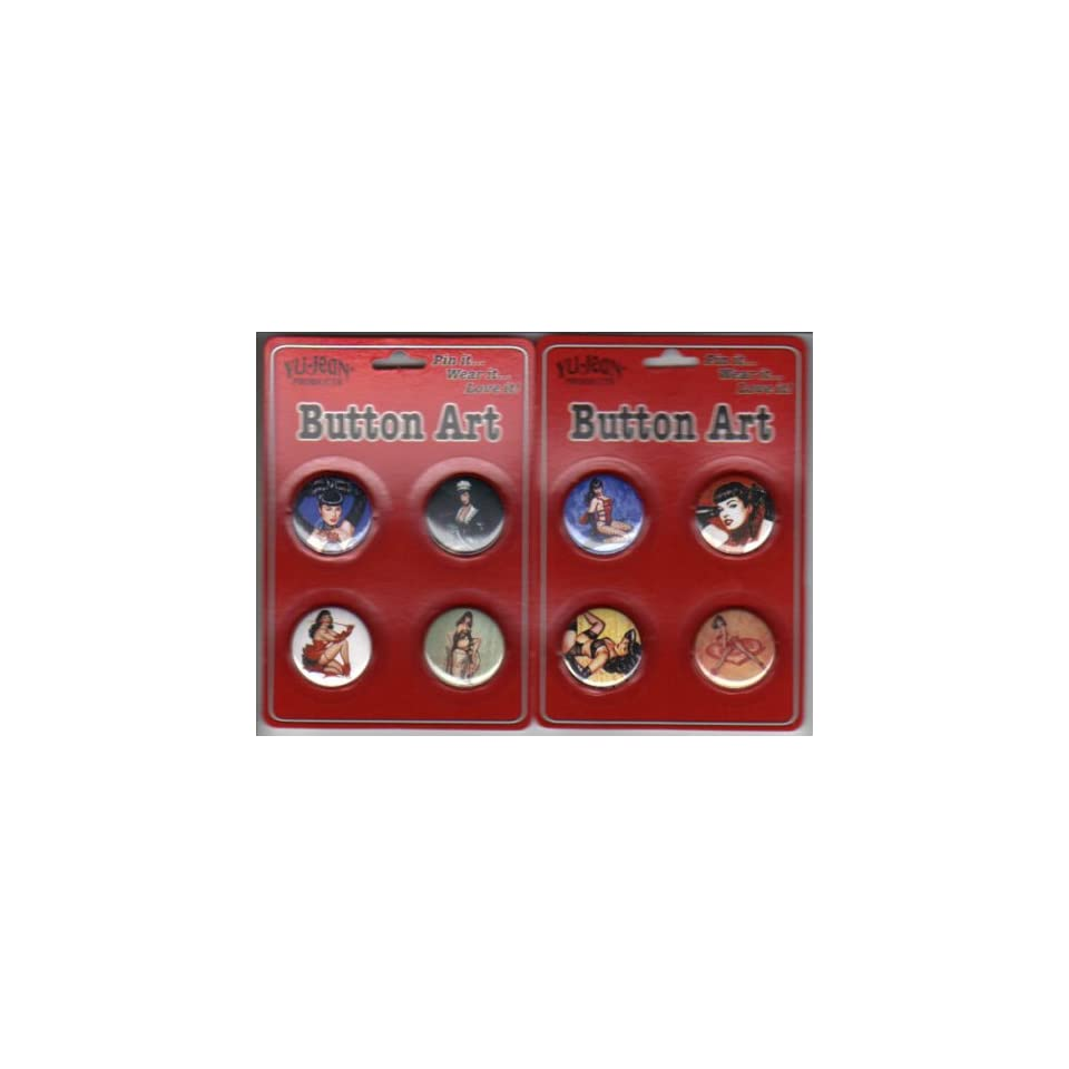 Bettie Page Button / Pin Set of 8 Artwork By Olivia