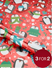 Festive Penguins Christmas Wrapping Paper