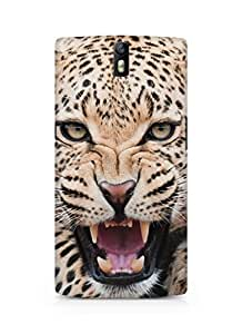 Amez designer printed 3d premium high quality back case cover for Oneplus One (Fierce Shouting Panthera Pardus Macro Face)