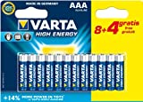 Varta High Energy AAA (LR03) Alkaline Batteries Pack of 12 (8 Plus 4 Free)
