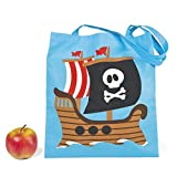 "1 ~ Large Pirate Tote Bag ~ Non-woven Polyester Material ~ Approx. 15"" X 17"" With 11"" Handles ~ New"