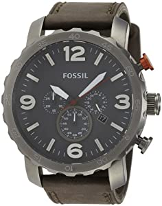 Amazon.com: Fossil Men's JR1419 Nate Chronograph Leather Watch - Grey: Fossil: Watches