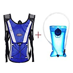 Hydration Pack Keepfit Hydration Pack Hydration Pack with 2 L Backpack Water Bladder for Hiking Running Biking Blue