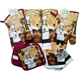 8 Piece Fat Chef Theme Kitchen Linen Set (Oven Mitts, Dish Towels, Dish Cloths and Pot Holders)