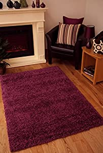 "Shaggy Rug Purple Aubergine 963 Plain 5cm Thick Soft Pile 60cm x 110cm (2ft x 3ft 7"") Modern 100% Berclon Twist Fibre Non-Shed Polyproylene Heat Set - AVAILABLE IN 6 SIZES by Quality Linen and Towels by Quality Linen and Towels"