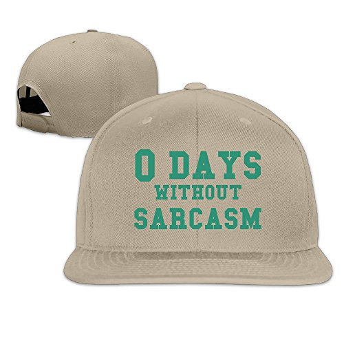 Custom Unisex-Adult Zero Days Without Sarcasm Flat Billed Hip Hop Caps Hat Natural (Hp Hard Drive Toaster compare prices)