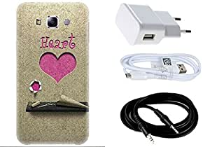Spygen SAMSUNG GALAXY E7 Case Combo of Premium Quality Designer Printed 3D Lightweight Slim Matte Finish Hard Case Back Cover + Charger Adapter + High Speed Data Cable + Premium Quality Aux