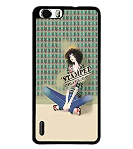 PrintDhaba Cute Girl D-5052 Back Case Cover for HUAWEI HONOR 6 (Multi-Coloured)