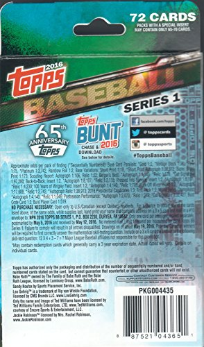 2016-Topps-Series-1-MLB-Baseball-HUGE-EXCLUSIVE-Factory-Sealed-Hanger-Box-with-72-Cards-Brand-New-Loaded-with-Cool-Inserts-and-New-Rookie-Cards-Look-for-Autographs-and-Game-Used-Relics