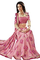 Ambica women faux grorgette floral print saree(Amb-4215_pink_Freesize)
