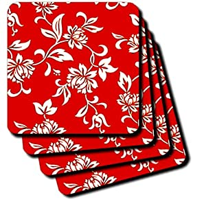 cst_1064_3 Flowers - Hibiscus Flower On Red - Coasters - set of 4 Ceramic Tile Coasters