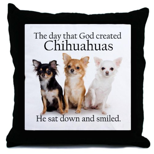 God and Chihuahuas Throw Pillow