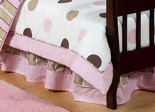 Sweet Jojo Designs Pink And Brown Modern Polka Dots Bed Skirt For Toddler Bedding Set front-222739
