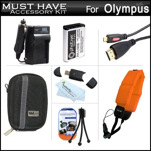 Must Have Accessory Kit For Olympus TOUGH TG-1 iHS, TG-1iHS, TG-2 iHS, TG-2iHS Waterproof Digital Camera Includes Extended Replacement (1500Mah) LI-90B Battery + Ac/Dc Charger + MiCRO HDMI Cable + USB Card Reader + Deluxe Hard Case + FLOAT STRAP + More