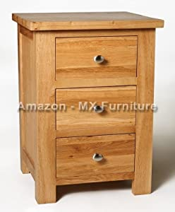 New Small Solid Oak Compact Small 3 Drawer Bedside Table / Cabinet Night Stand       Customer review and more information