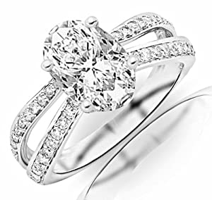 0.92 Carat Oval Cut / Shape 14K White Gold Contemporary Double Row Split Shank Engagement Ring ( G-H Color , VS2 Clarity )