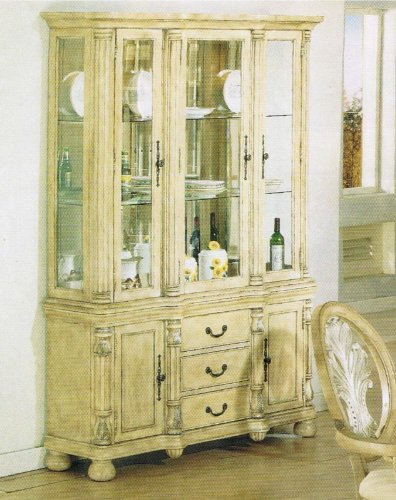 Cheap China Cabinet Buffet Hutch Antique Buttermilk Finish (VF_AZ00-39510×21546)