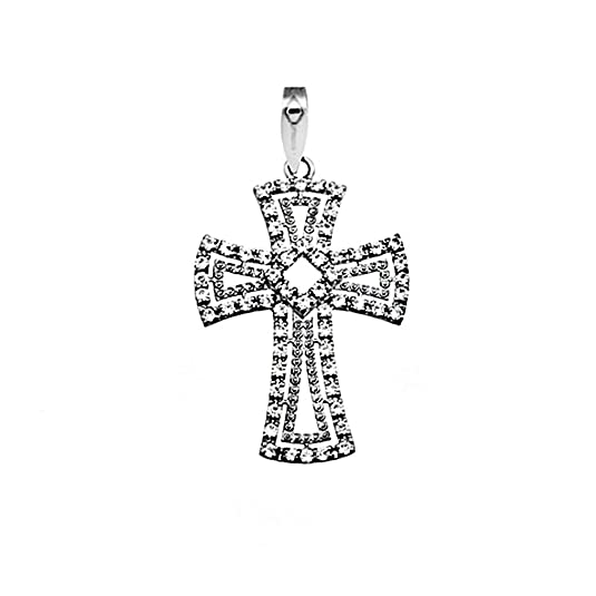 18k white gold cross zircons [AA4926]