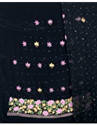 Exotic India Black Salwar Kameez Fabric From Lucknow With Floral Embroid - Black