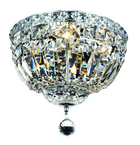 Elegant Lighting 2528F12C/Rc Tranquil 9-Inch High 4-Light Flush Mount, Chrome Finish With Crystal (Clear) Royal Cut Rc Crystal front-684701