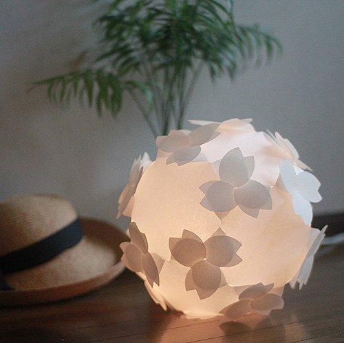 コハルライト-桜-フロアライト 組立式 和紙 照明器具 12W蛍光電球 電灯ユニット付 日本製