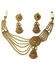 Shingar Jewellery Antique Gold Look Necklace For Women - B00OKJLW4K