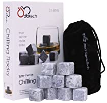 DB-Tech Whisky Chilling Rocks Gift Set - Set of 9 Grey Stones With A Muslin Pouch -Chill Your Whiskey with these rocks Without Dilution