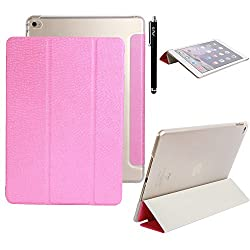 iPad Air 2 Case - E LV iPad Air 2 Case Cover Full Body Protection Trifold PU LEATHER Smart Case Cover for APPLE iPad Air 2 with 1 Screen Protector, 1 Stylus and 1 Microfiber Digital Cleaner - HOT PINK