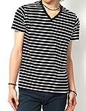 (リピード) REPIDO Tシャツ カットソー メンズ 半袖 Vネック ボーダー ボーダーTシャツ 半袖Tシャツ 無地 白黒 ブラック×ホワイト(太) M