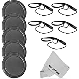 (5 Pack) Altura Photo 58mm Snap-On Front Lens Cap W/ Cap Keeper Holder For Canon Nikon Sony Olympus And Other DSLR Cameras