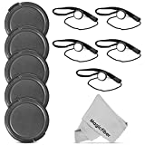 (5 Pack) Altura Photo 58mm Snap-On Front Lens Cap w Cap Keeper Holder for Canon Nikon Sony Olympus and other DSLR Cameras